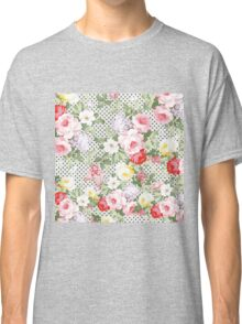 Vintage girly pink red yellow flowers polka dots  Classic T-Shirt