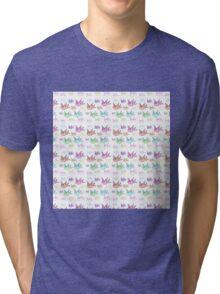 Vintage cute pink purple little birds pattern  Tri-blend T-Shirt