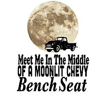 Meet Me In The Middle Of A Moonlit Chevy Bench Seat Photographic Print