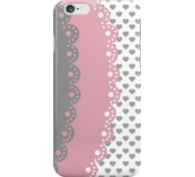 Trendy pink gray lace romantic hearts pattern iPhone Case/Skin