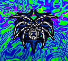 Black Widow Illustrated Chrome Spider- Lime, Royal and Purple by DriveIndustries