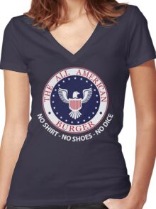All American Burger (No Shirt-No Shoes-No dice) Women's Fitted V-Neck T-Shirt