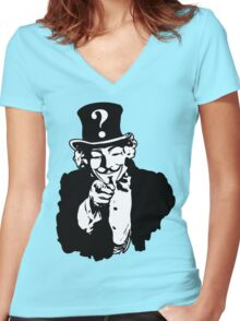 Anonymous Needs You Women's Fitted V-Neck T-Shirt