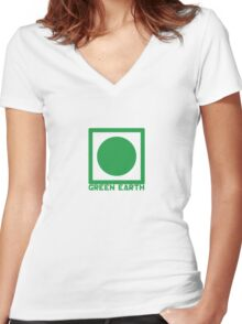 Green Earth Women's Fitted V-Neck T-Shirt
