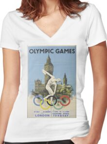 Vintage poster - London Olympics Women's Fitted V-Neck T-Shirt