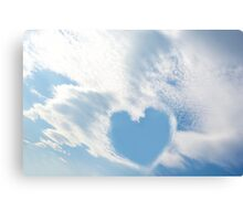 blue sky love heart Canvas Print