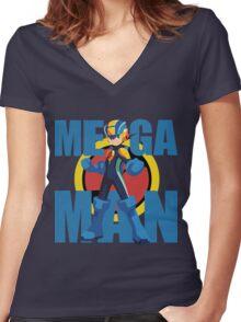 Mega Emblem Women's Fitted V-Neck T-Shirt