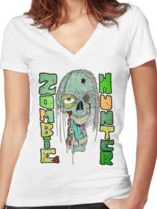 Zombie Hunter Logo Women's Fitted V-Neck T-Shirt