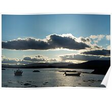 boats in a calm quiet bay at sunset Poster