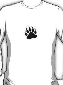 Black Paw on White T'Shirt T-Shirt