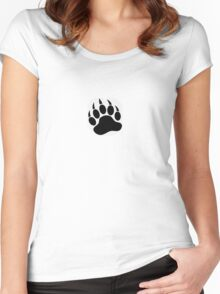Black Paw on White T'Shirt Women's Fitted Scoop T-Shirt