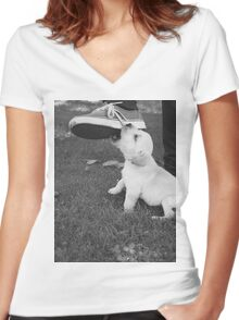 Playful Pup Women's Fitted V-Neck T-Shirt