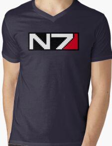 8-bit N7 Logo (Black Background) Mens V-Neck T-Shirt