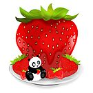 Panda & Strawberries  by Adamzworld