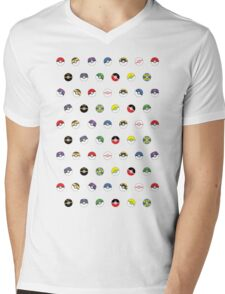 Cute Pokeball Pattern Mens V-Neck T-Shirt