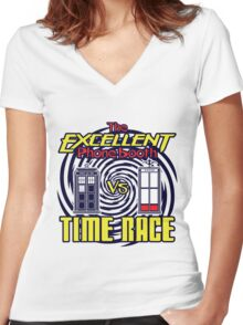 The Excellent Phone Booth Time Race Women's Fitted V-Neck T-Shirt