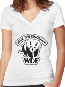 Save The Dinosaur Women's Fitted V-Neck T-Shirt