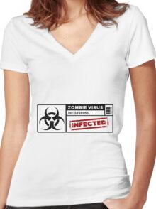Zombie Virus - Infected Women's Fitted V-Neck T-Shirt