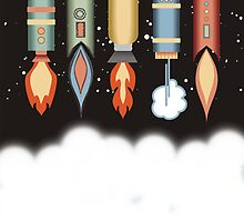Colorful outer space rockets flaming jet pack clouds by BigMRanch