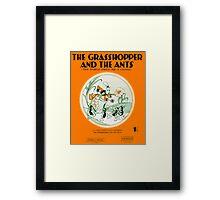 THE GRASSHOPPER AND THE ANTS (vintage illustration) Framed Print