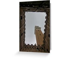 Courtyard below tower in Siena, Italy Greeting Card