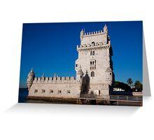 Belem Limestone Tower in Lisbon Portugal Greeting Card
