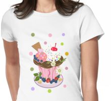 Cute Summer Cupcake Tee with Polkadots Womens Fitted T-Shirt