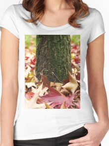 Autumn Tree Trunk And Leaves Women's Fitted Scoop T-Shirt