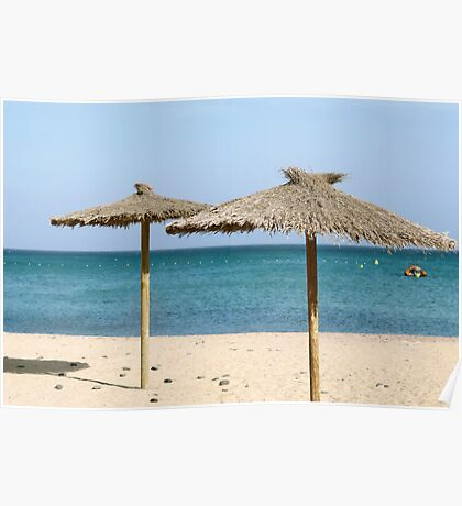 Thatch Beach Umbrellas Poster