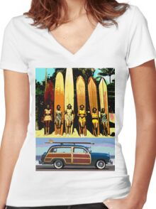 Cool Babes & Hot Rod Women's Fitted V-Neck T-Shirt