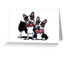 Merry Gentlemen | Boston Terriers Greeting Card