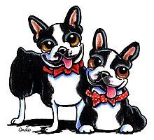 Merry Gentlemen | Boston Terriers Photographic Print