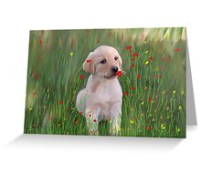 Yellow Lab Puppy in Training Greeting Card