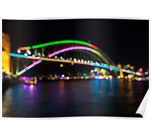 Harbour Bridge in Colourfull Circles Poster