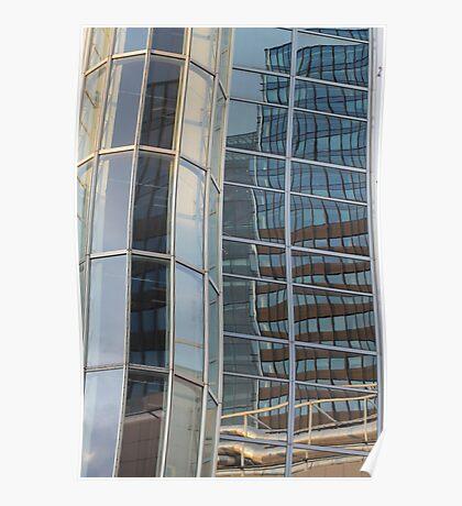 Reflection in skyscraper window Poster