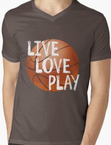 Live, Love, Play - Basketball Mens V-Neck T-Shirt
