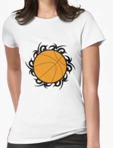 Round Basketball Tribal Womens Fitted T-Shirt