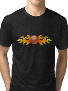 Basketball with Flames Tri-blend T-Shirt