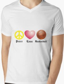 Peace, Love, Basketball Mens V-Neck T-Shirt
