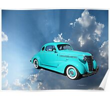 Classic Car Flying in the Sky Poster