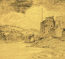 An - 'oldified' - digital painting of my pencil drawing of Dartmouth Castle by Dennis Melling