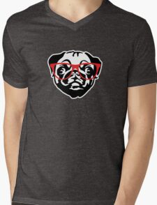 Nerd Pug Mens V-Neck T-Shirt