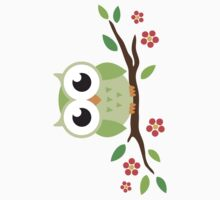 Cute green cartoon owl on floral branch sticker by MheaDesign