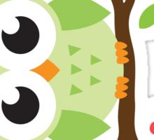 Cute green cartoon owl on floral branch sticker Sticker