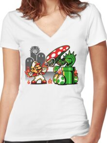 Game Over Man, GAME OVER! Women's Fitted V-Neck T-Shirt