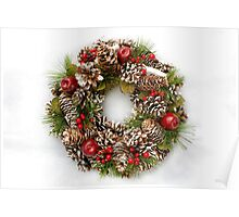 Christmas Wreath on White Background Poster