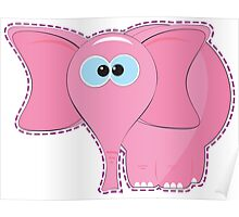 funny pink elephant cartoon Poster