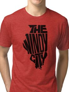 Chicago: The Windy City Black Tri-blend T-Shirt