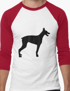 Doberman Silhouette 2 Men's Baseball ¾ T-Shirt