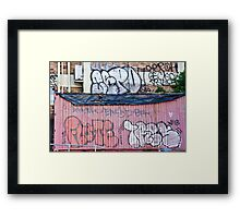Abstract Graffiti in the grunge wall and sea container Framed Print
